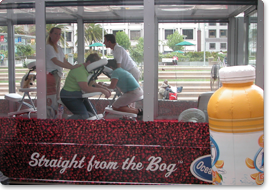 Chair massage offered in Ocean Spray's specially designed truck